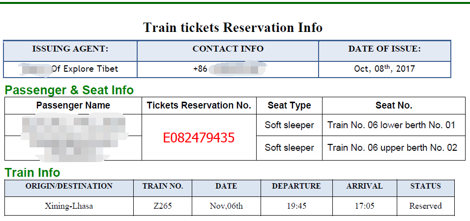 Explore Tibet train ticket itinerary